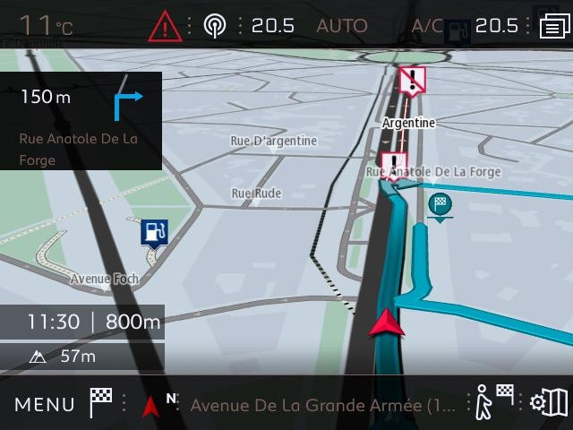Navigation 3D connectée Peugeot - Zone de danger