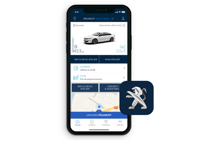 PEUGEOT 508 HYBRID : application gratuite MyPeugeot®