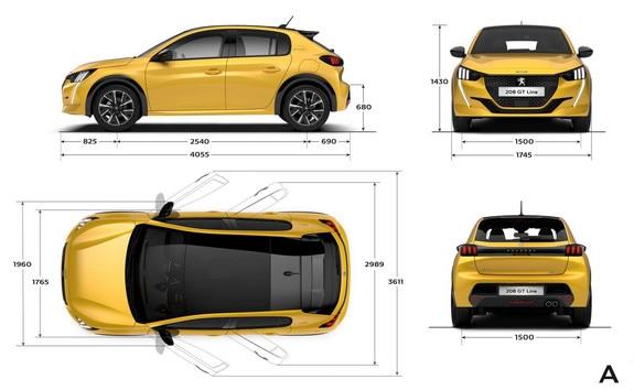 Peugeot 208 - Dimensions extérieures