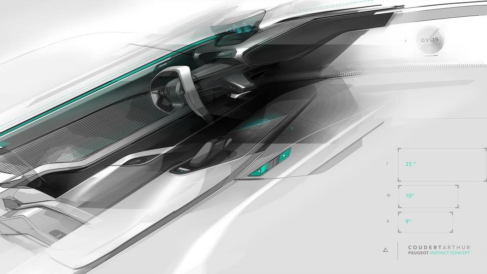 Peugeot Instinct Concept - Peugeot Responsive i-Cockpit - Sketch