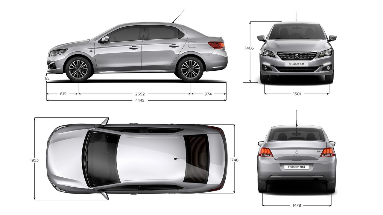Nouvelle Peugeot 301 : Dimensions extérieures du véhicule