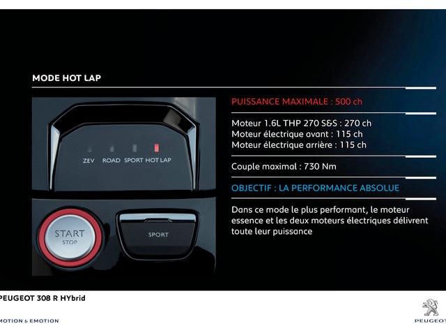 Conduite instinctive PEUGEOT 308 R HYbrid - Le mode hot lap pour une performance absolue